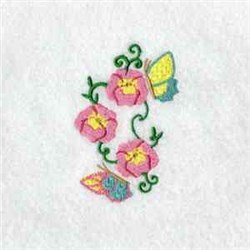 Poppies And Butterflies embroidery design