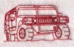 Redwork Hummer embroidery design