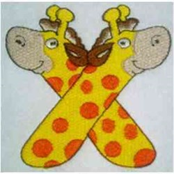Animal Alphabet Letter X embroidery design