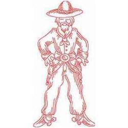 Redwork Cowboy embroidery design