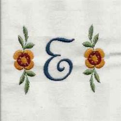 Floral Script Letter E embroidery design