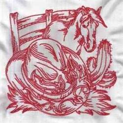 Redwork Western embroidery design