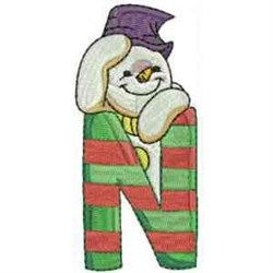 Christmas Font Letter N embroidery design