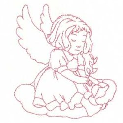 Redwork Child Angel embroidery design