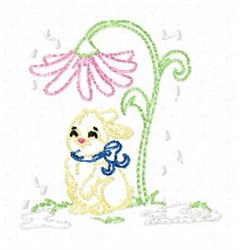 Bunny And Flower embroidery design