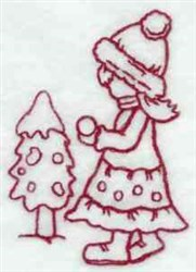 Redwork Winter Sunbonnet embroidery design