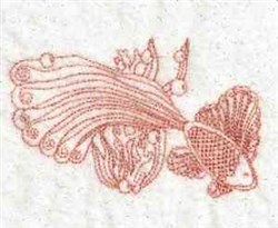 Redwork Tropical Fish embroidery design