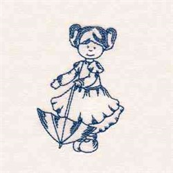 Rainy Day Girl embroidery design