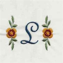 Floral Script Letter L embroidery design
