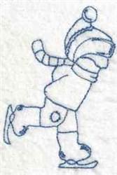 Bluework Ice Skating Boy embroidery design