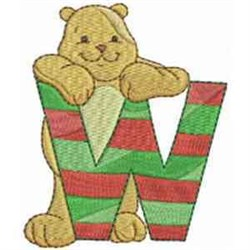 Christmas Font Letter W embroidery design