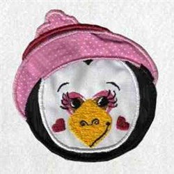 WInter Penguin Head embroidery design