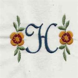 Floral Script Letter H embroidery design