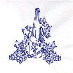 Bluework Wine Bottle embroidery design