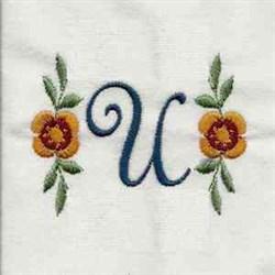 Floral Script Letter U embroidery design