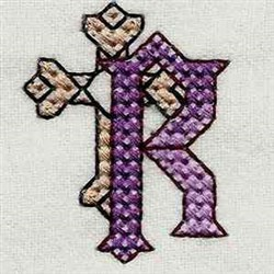 Heavy Metal Letter R embroidery design