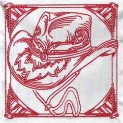 Redwork Western Block embroidery design