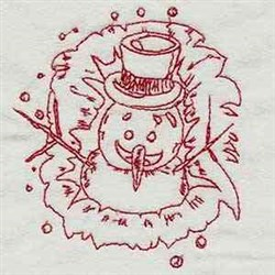 Redwork Snowman embroidery design