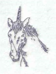 Bluework Unicorn Head embroidery design