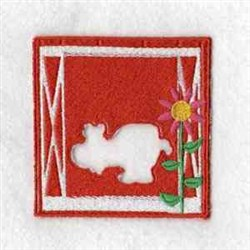 Puzzle Cow Barn embroidery design