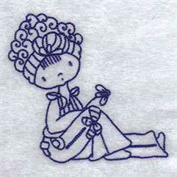 Bluework Fashion Girl embroidery design