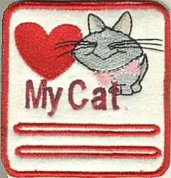Love My Cat Patch embroidery design