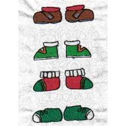 Xmas Paper Doll Shoes embroidery design