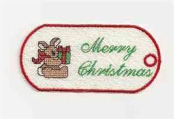 FSL Bunny Xmas Tag embroidery design