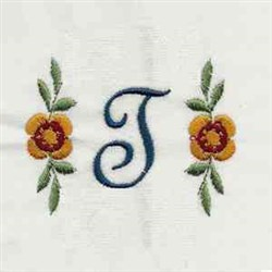 Floral Script Letter T embroidery design