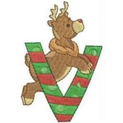 Christmas Font Letter V embroidery design