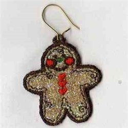 Mylar Gingerbread Earring embroidery design
