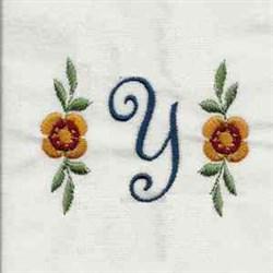 Floral Script Letter Y embroidery design