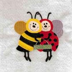 Ladybug And Bee embroidery design