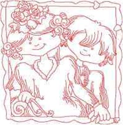 Redwork Wedding Couple embroidery design