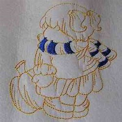 Autumn Bonnet Girl embroidery design