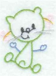 Kids Line Art Cat embroidery design