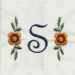 Floral Script Letter S embroidery design