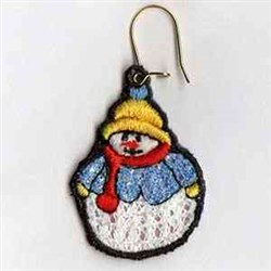 Mylar Snowman Earring embroidery design