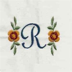 Floral Script Letter R embroidery design