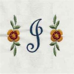 Floral Script Letter J embroidery design
