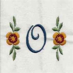 Floral Script Letter O embroidery design