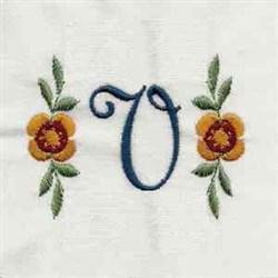 Floral Script Letter V embroidery design