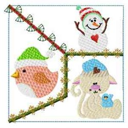 Frosty Kitty Quilt Block embroidery design