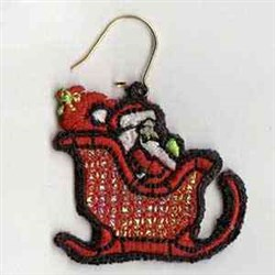 Mylar Santa Earring embroidery design