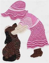 Sunbonnet Girl And Dog embroidery design