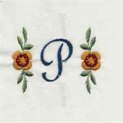 Floral Script Letter P embroidery design