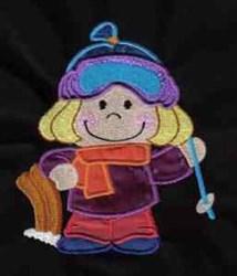 Applique Winter Kid embroidery design