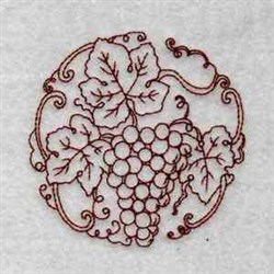 Redwork Fall Grapes embroidery design