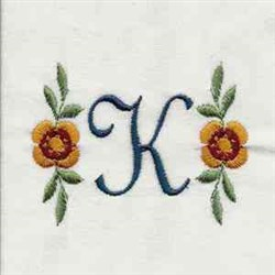 Floral Script Letter K embroidery design