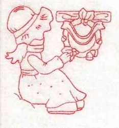 Redwork Winter Girl embroidery design